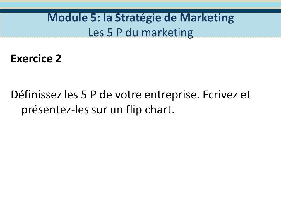 Définir la mission de votre entreprise Module 5: la Stratégie de Marketing La concurrence Les concurrents sont dans votre marché au même moment et au même endroit que votre entreprise.