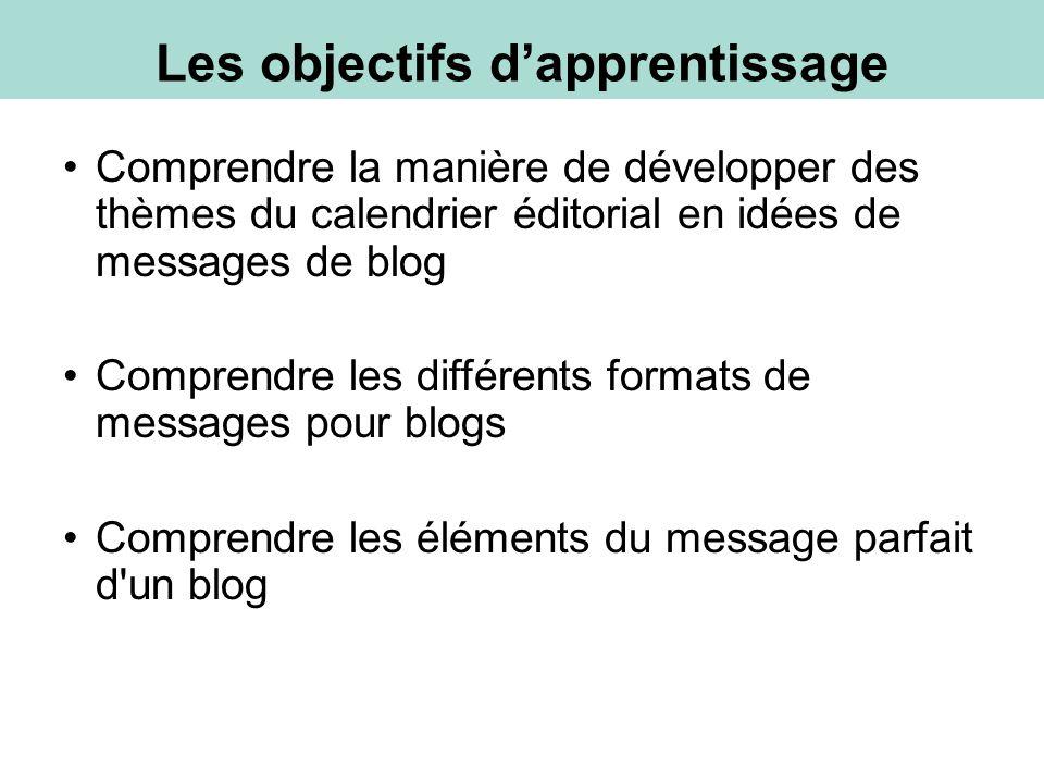 Comprendre la manière de développer des thèmes du calendrier éditorial en idées de messages de blog Comprendre les différents formats de messages pour blogs Comprendre les éléments du message parfait d un blog Les objectifs dapprentissage