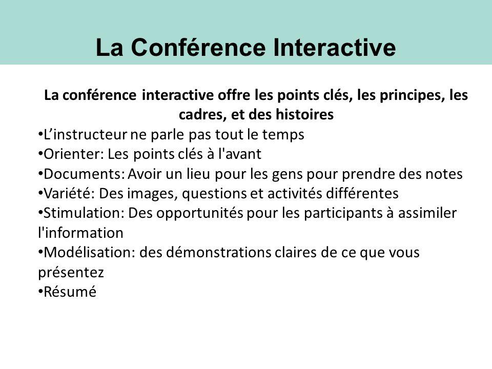 La Conférence Interactive La conférence interactive offre les points clés, les principes, les cadres, et des histoires Linstructeur ne parle pas tout
