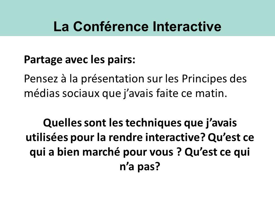 La Conférence Interactive Partage avec les pairs: Pensez à la présentation sur les Principes des médias sociaux que javais faite ce matin. Quelles son