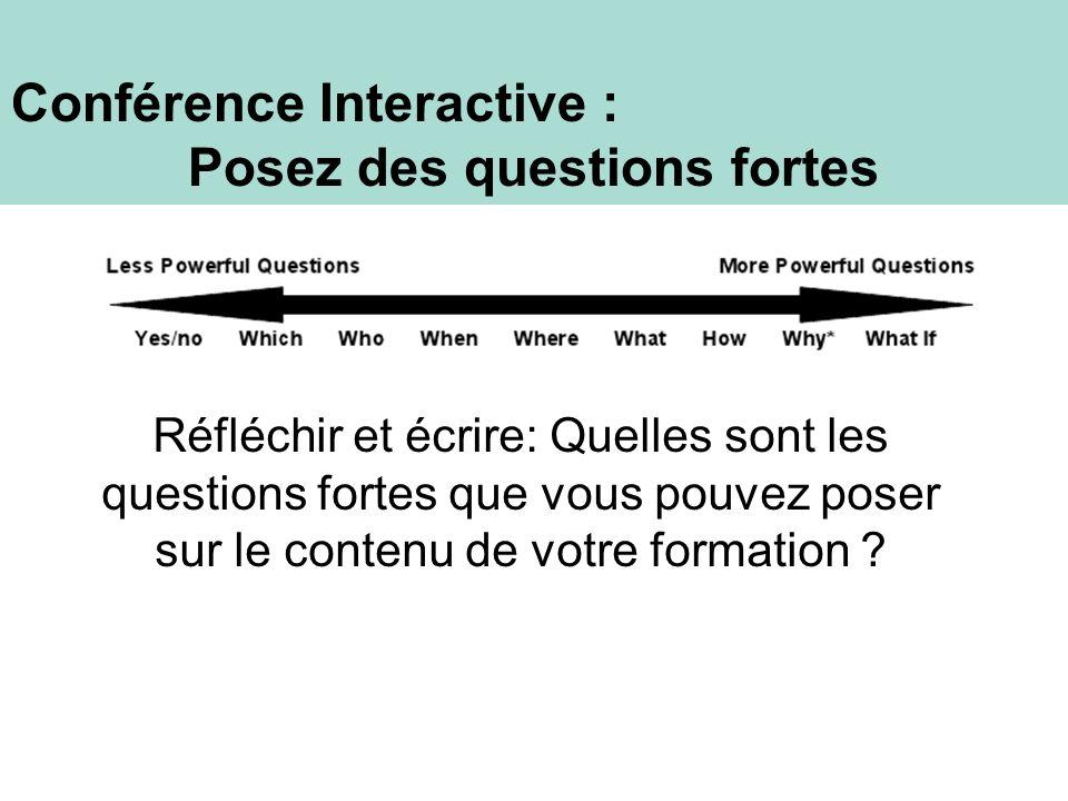 Conférence Interactive : Posez des questions fortes Réfléchir et écrire: Quelles sont les questions fortes que vous pouvez poser sur le contenu de vot