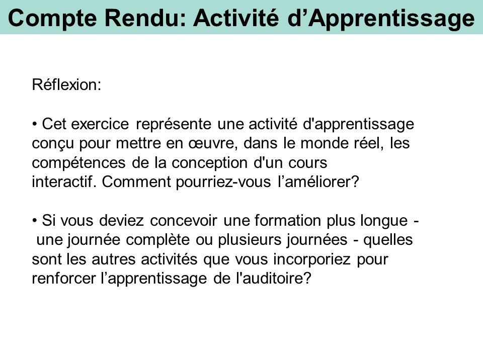 Compte Rendu: Activité dApprentissage Réflexion: Cet exercice représente une activité d'apprentissage conçu pour mettre en œuvre, dans le monde réel,