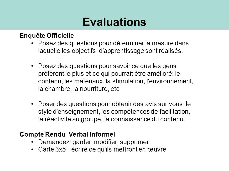 Evaluations Enquête Officielle Posez des questions pour déterminer la mesure dans laquelle les objectifs d'apprentissage sont réalisés. Posez des ques