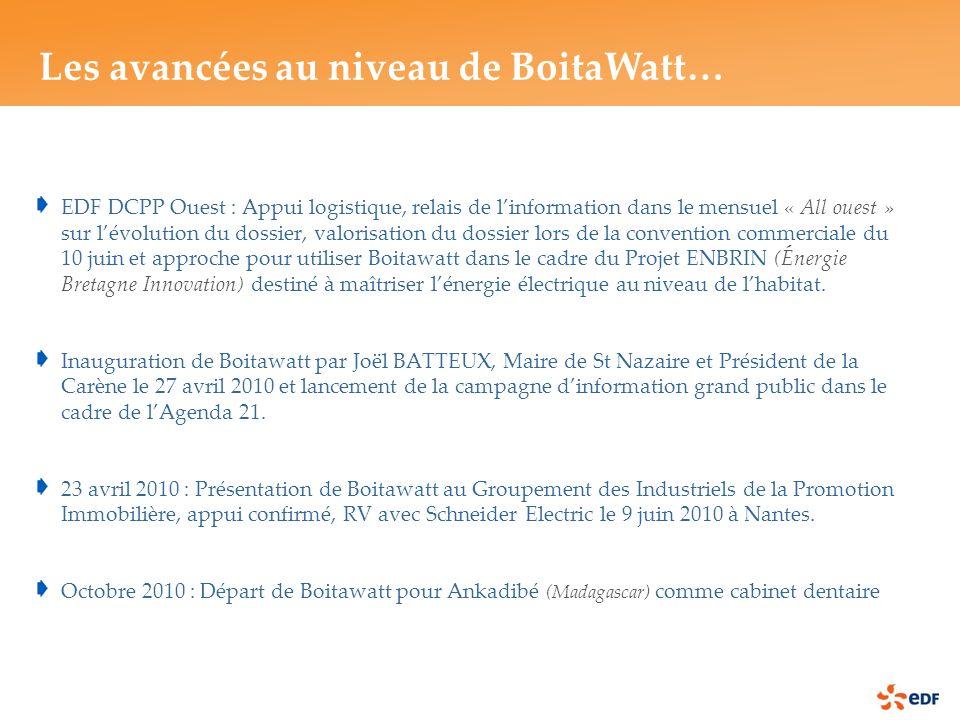 EDF DCPP Ouest : Appui logistique, relais de linformation dans le mensuel « All ouest » sur lévolution du dossier, valorisation du dossier lors de la convention commerciale du 10 juin et approche pour utiliser Boitawatt dans le cadre du Projet ENBRIN (Énergie Bretagne Innovation) destiné à maîtriser lénergie électrique au niveau de lhabitat.