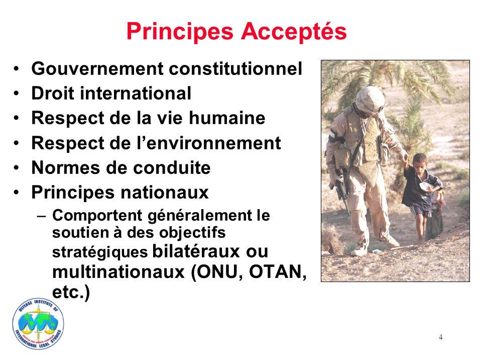 4 Gouvernement constitutionnel Droit international Respect de la vie humaine Respect de lenvironnement Normes de conduite Principes nationaux –Comport