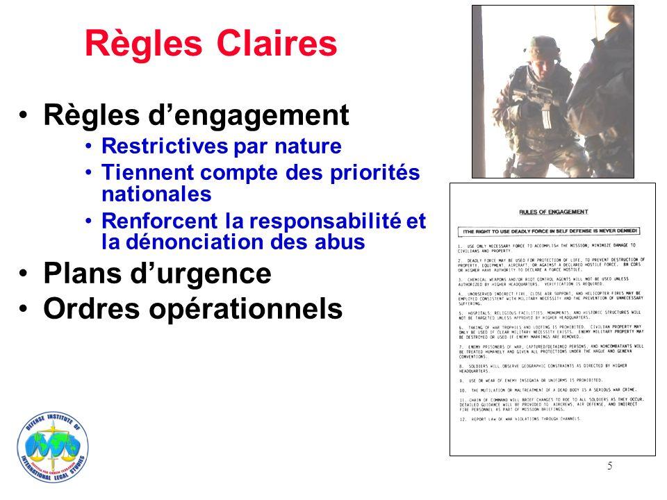 5 Règles Claires Règles dengagement Restrictives par nature Tiennent compte des priorités nationales Renforcent la responsabilité et la dénonciation d