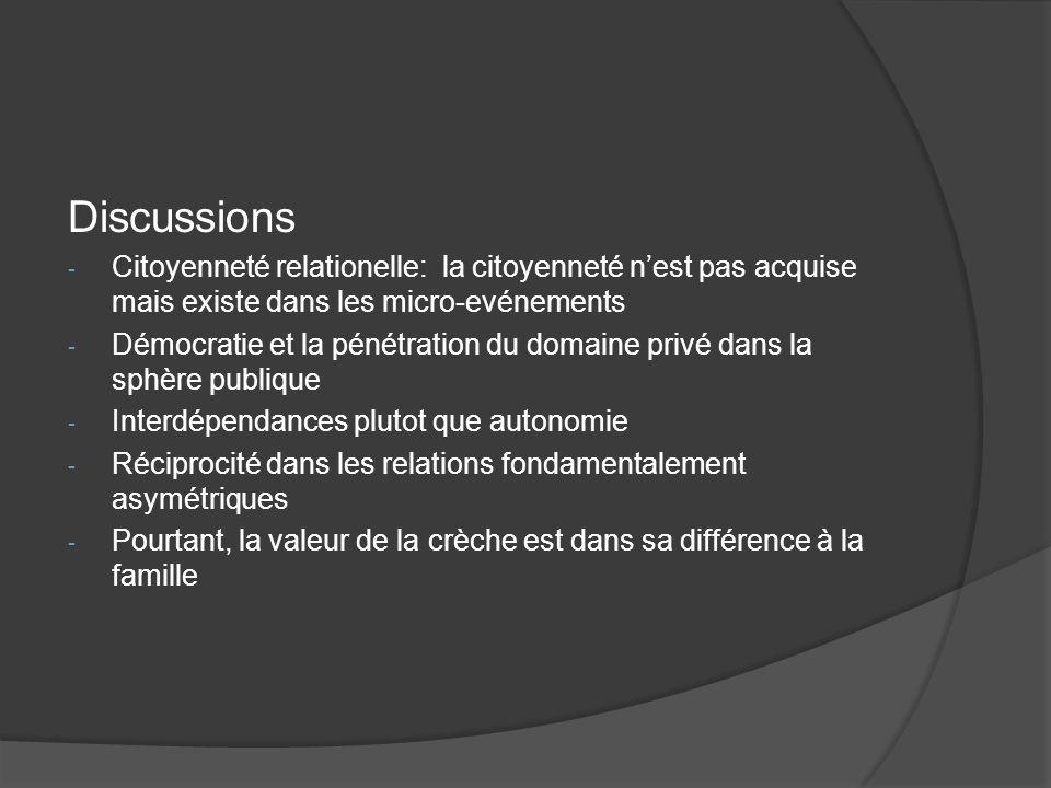 Discussions - Citoyenneté relationelle: la citoyenneté nest pas acquise mais existe dans les micro-evénements - Démocratie et la pénétration du domain