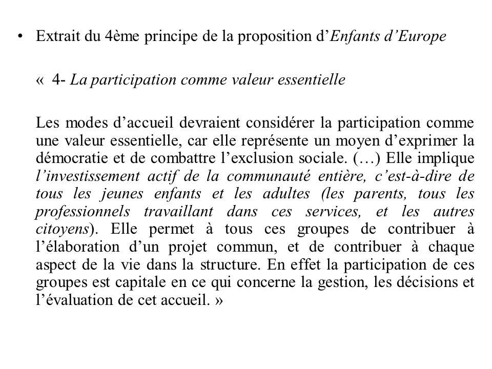Extrait du 4ème principe de la proposition dEnfants dEurope « 4- La participation comme valeur essentielle Les modes daccueil devraient considérer la