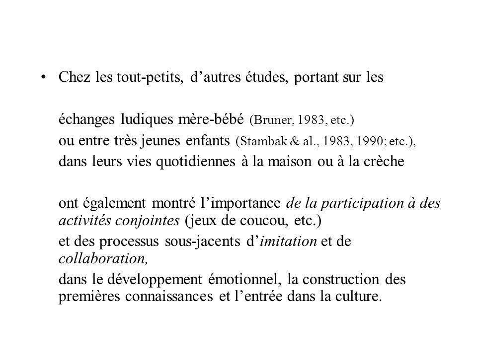 Chez les tout-petits, dautres études, portant sur les échanges ludiques mère-bébé (Bruner, 1983, etc.) ou entre très jeunes enfants (Stambak & al., 19