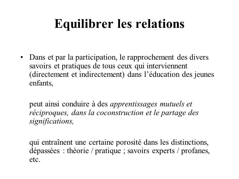 Equilibrer les relations Dans et par la participation, le rapprochement des divers savoirs et pratiques de tous ceux qui interviennent (directement et