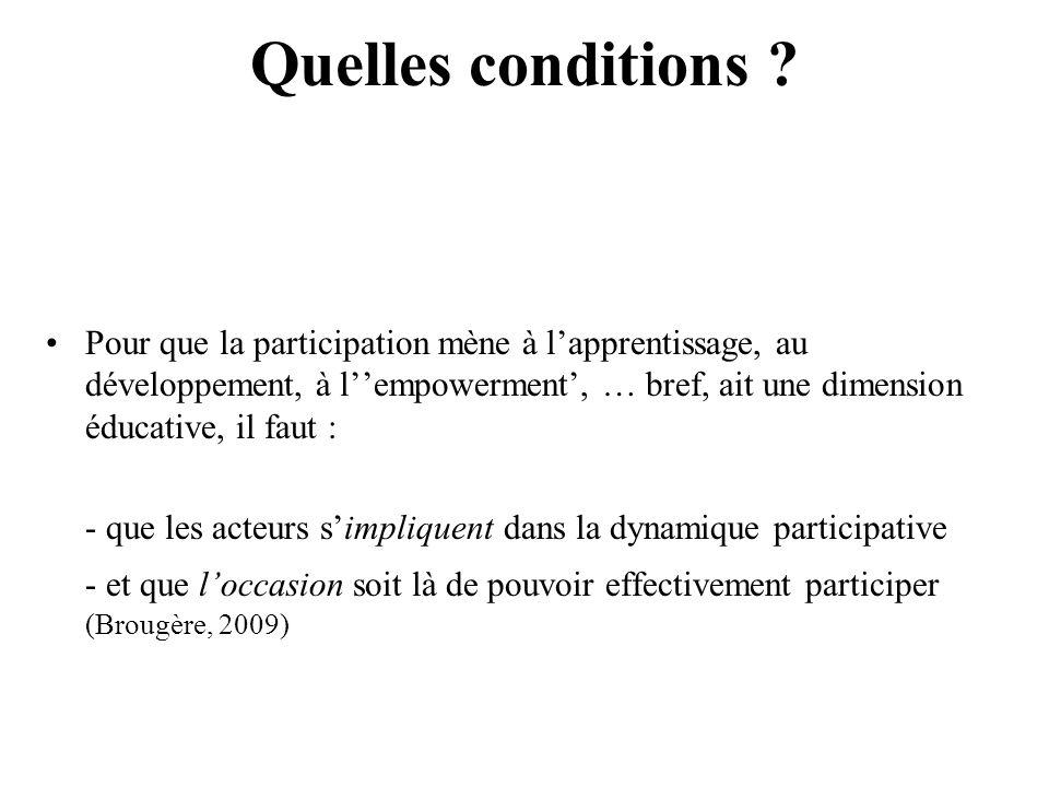 Quelles conditions ? Pour que la participation mène à lapprentissage, au développement, à lempowerment, … bref, ait une dimension éducative, il faut :