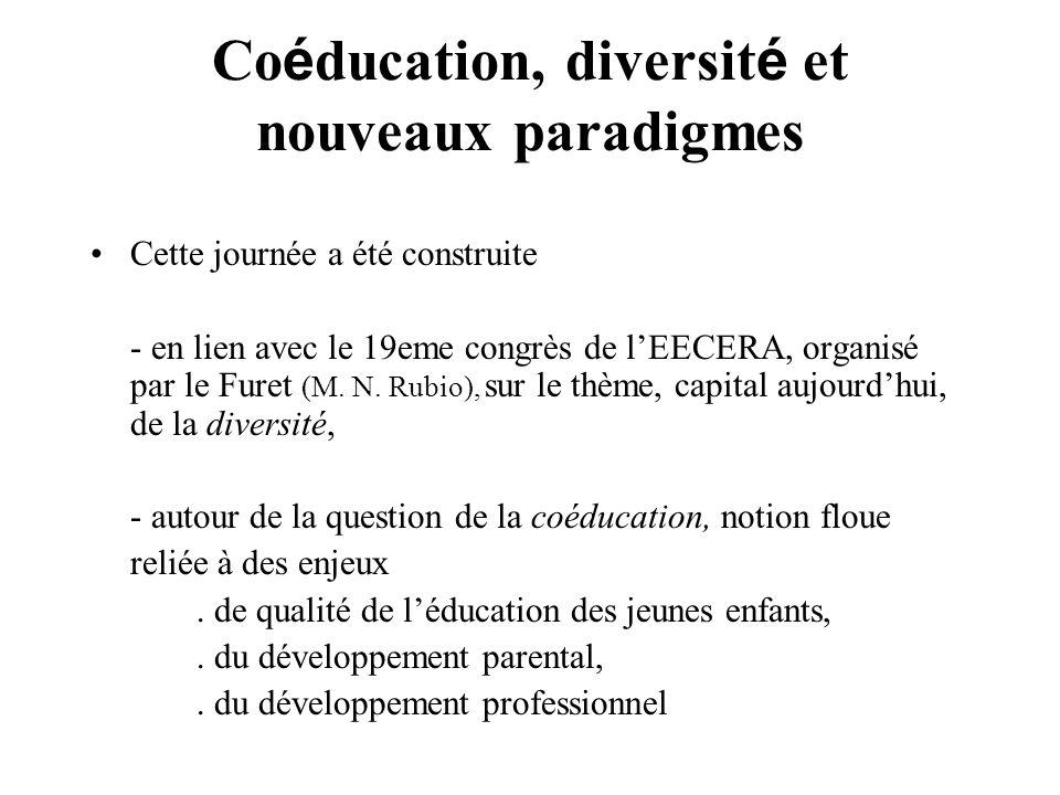 Pour les organisateurs de cette journée, la question de la coéducation traverse : - dune part la recherche du Furet sur les lieux daccueil parents-enfants (H.
