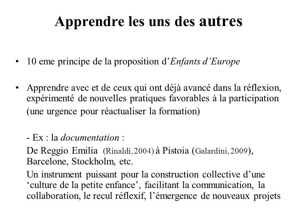 Apprendre les uns des autres 10 eme principe de la proposition dEnfants dEurope Apprendre avec et de ceux qui ont déjà avancé dans la réflexion, expér