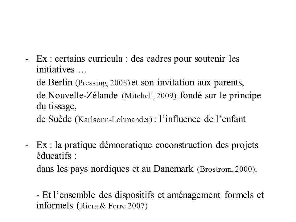 -Ex : certains curricula : des cadres pour soutenir les initiatives … de Berlin (Pressing, 2008) et son invitation aux parents, de Nouvelle-Zélande (M