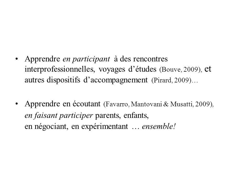 Apprendre en participant à des rencontres interprofessionnelles, voyages détudes (Bouve, 2009), et autres dispositifs daccompagnement (Pirard, 2009)…