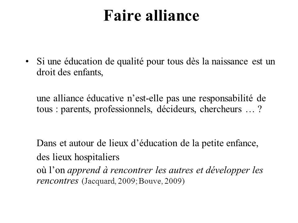 Faire alliance Si une éducation de qualité pour tous dès la naissance est un droit des enfants, une alliance éducative nest-elle pas une responsabilit