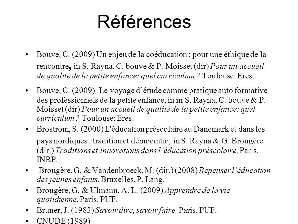 Références Bouve, C. (2009) Un enjeu de la coéducation : pour une éthique de la rencontre, in S. Rayna, C. bouve & P. Moisset (dir) Pour un accueil de