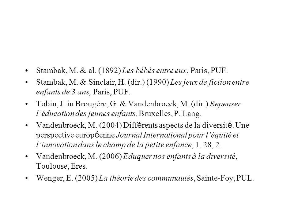 Stambak, M. & al. (1892) Les bébés entre eux, Paris, PUF. Stambak, M. & Sinclair, H. (dir.) (1990) Les jeux de fiction entre enfants de 3 ans, Paris,