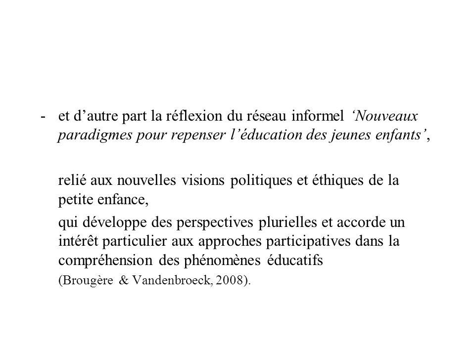 -et dautre part la réflexion du réseau informel Nouveaux paradigmes pour repenser léducation des jeunes enfants, relié aux nouvelles visions politique
