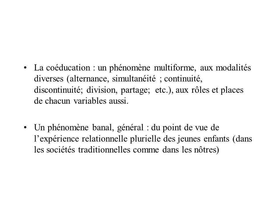 La coéducation : un phénomène multiforme, aux modalités diverses (alternance, simultanéité ; continuité, discontinuité; division, partage; etc.), aux
