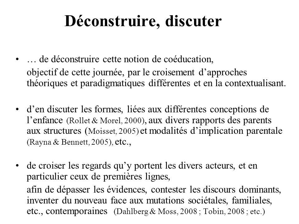 Déconstruire, discuter … de déconstruire cette notion de coéducation, objectif de cette journée, par le croisement dapproches théoriques et paradigmat