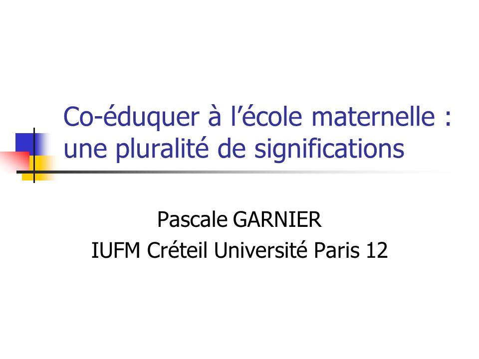 Co-éduquer à lécole maternelle : une pluralité de significations Pascale GARNIER IUFM Créteil Université Paris 12