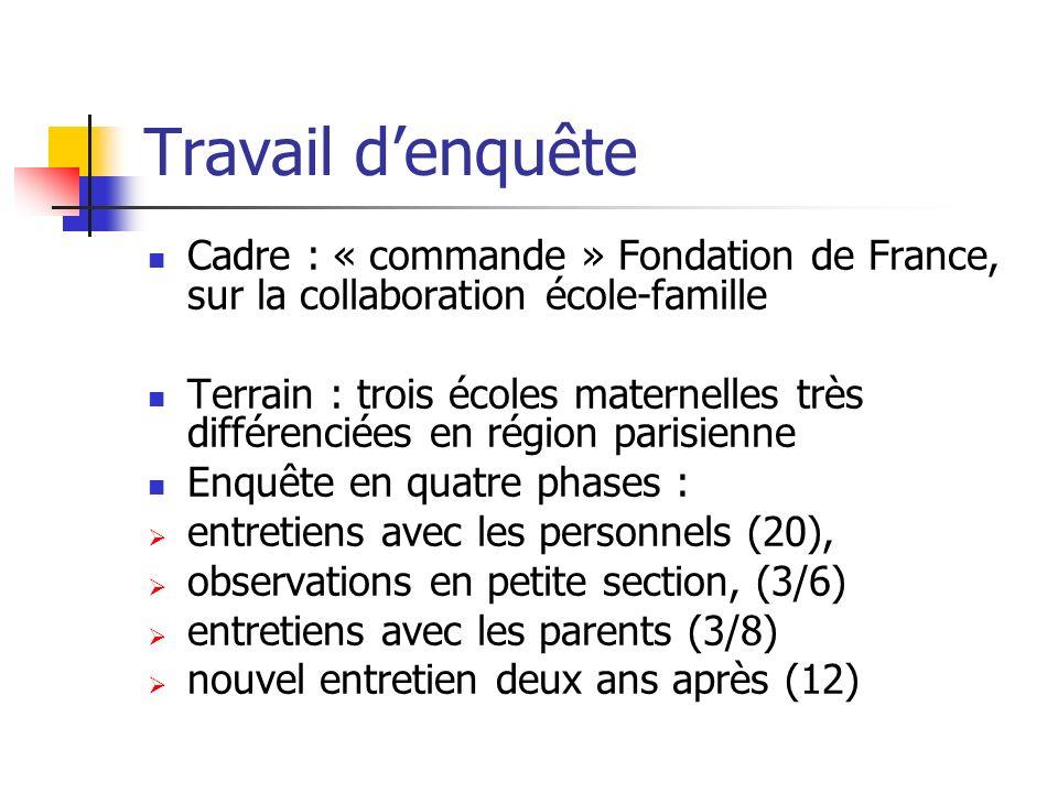 Travail denquête Cadre : « commande » Fondation de France, sur la collaboration école-famille Terrain : trois écoles maternelles très différenciées en