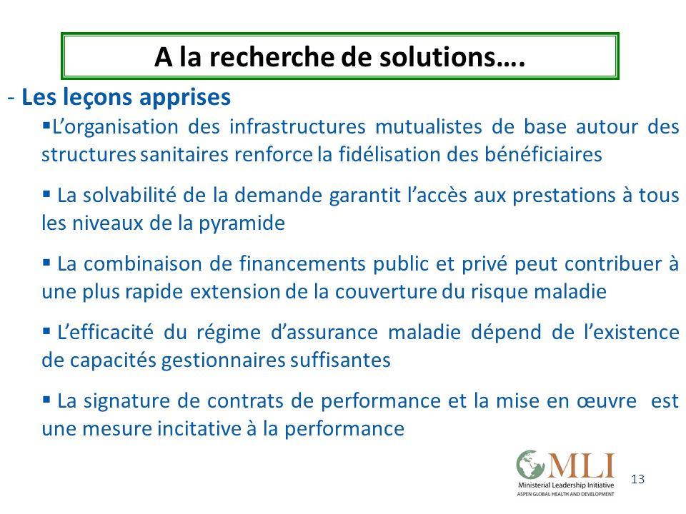 13 A la recherche de solutions…. - Les leçons apprises Lorganisation des infrastructures mutualistes de base autour des structures sanitaires renforce