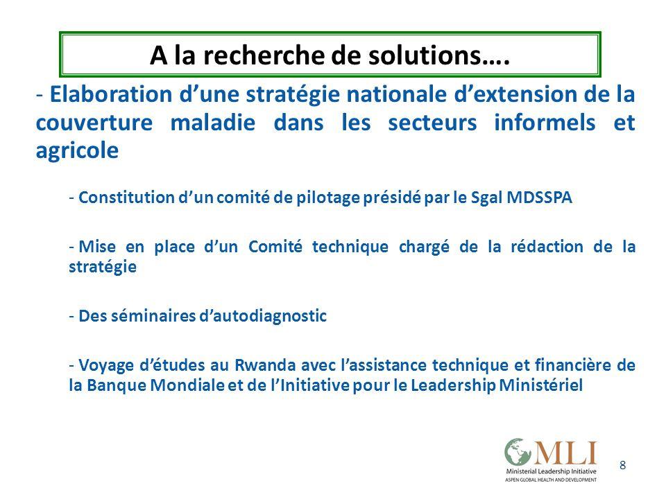 8 A la recherche de solutions…. - Elaboration dune stratégie nationale dextension de la couverture maladie dans les secteurs informels et agricole - C