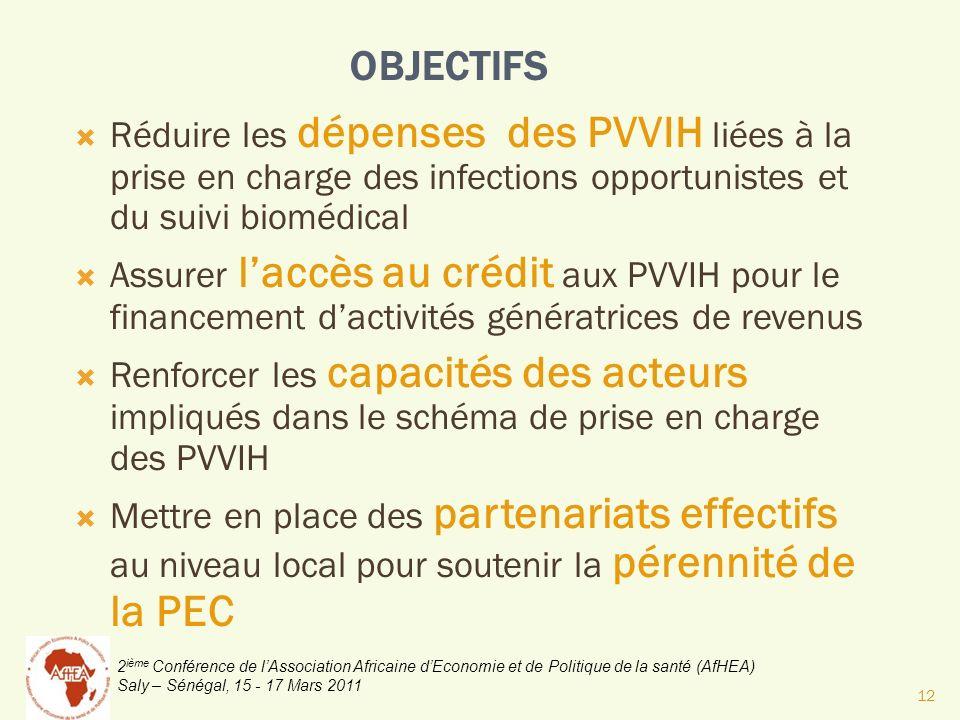 2 ième Conférence de lAssociation Africaine dEconomie et de Politique de la santé (AfHEA) Saly – Sénégal, 15 - 17 Mars 2011 OBJECTIFS Réduire les dépe