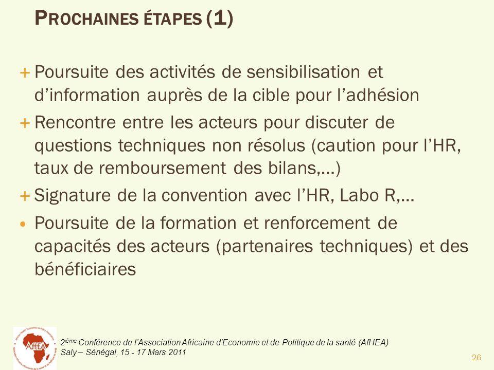 2 ième Conférence de lAssociation Africaine dEconomie et de Politique de la santé (AfHEA) Saly – Sénégal, 15 - 17 Mars 2011 P ROCHAINES ÉTAPES (1) Pou