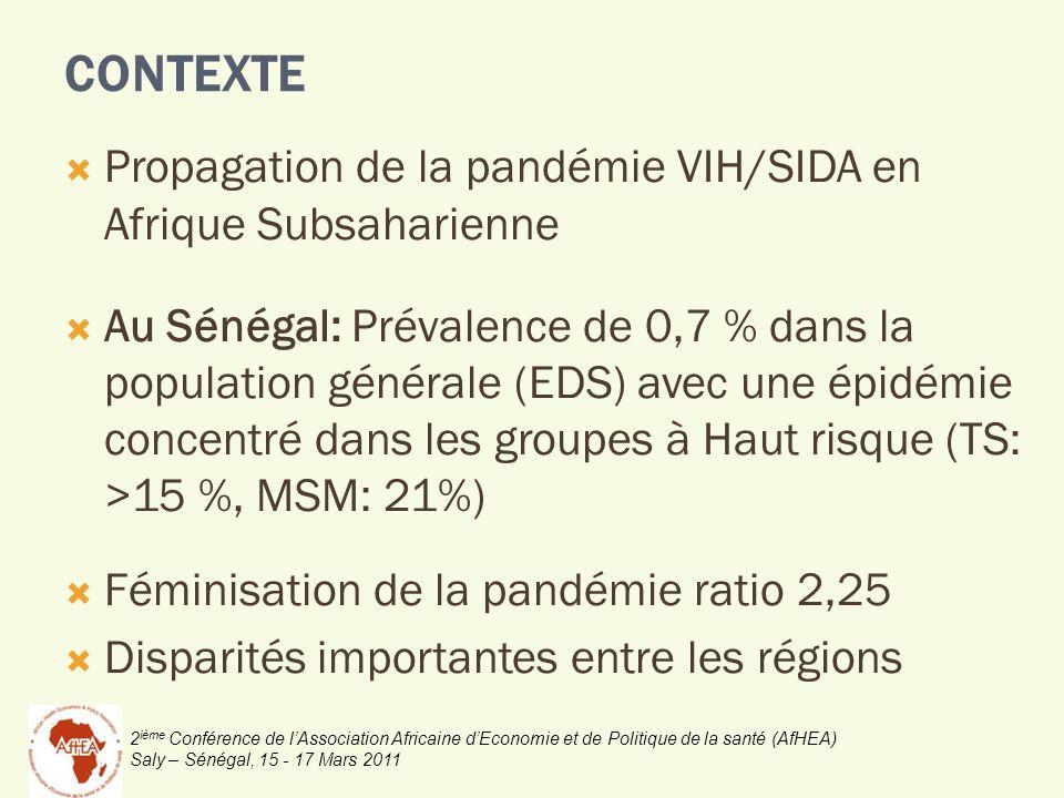 2 ième Conférence de lAssociation Africaine dEconomie et de Politique de la santé (AfHEA) Saly – Sénégal, 15 - 17 Mars 2011 Propagation de la pandémie