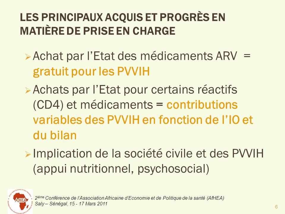2 ième Conférence de lAssociation Africaine dEconomie et de Politique de la santé (AfHEA) Saly – Sénégal, 15 - 17 Mars 2011 DÉFIS À RELEVER EN MATIÈRE DE PEC Atteindre un accès plus décentralisé au niveau districts & postes santé du paquet de la PEC Régularité de la disponibilité des médicaments IO et réactifs des bilans Réaliser une gamme élargie des médicaments IO qui sont gratuits aux PVVIH Améliorer la capacités économiques des PVVIH pour lauto prise en charge Renforcer le paquet de PEC nutritionnelle et psychosociale, 7