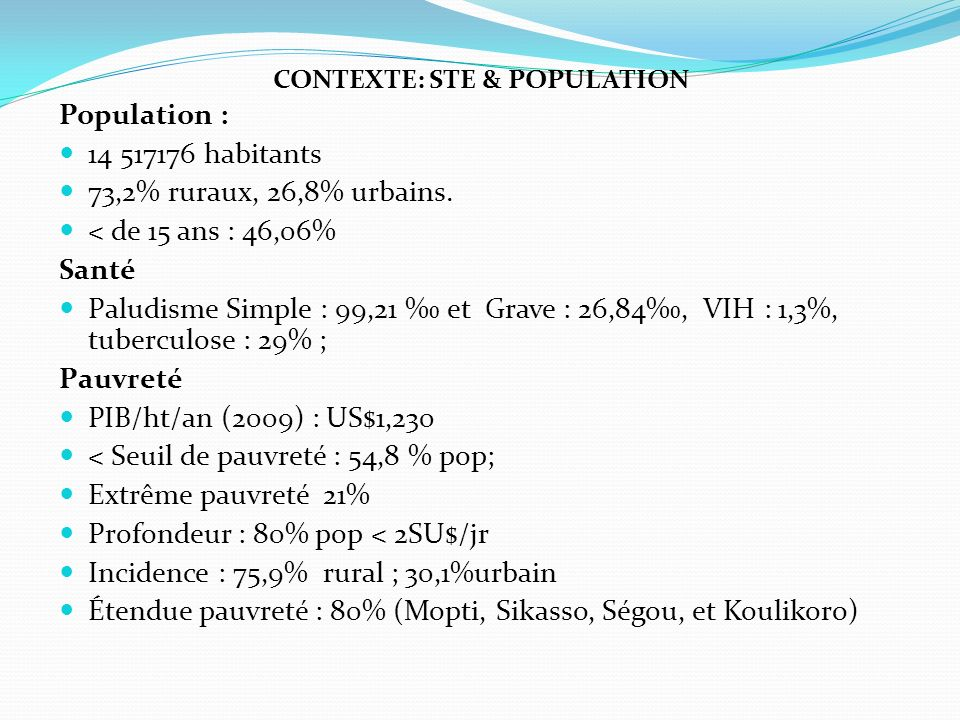 CONTEXTE: STE & POPULATION Population : 14 517176 habitants 73,2% ruraux, 26,8% urbains.