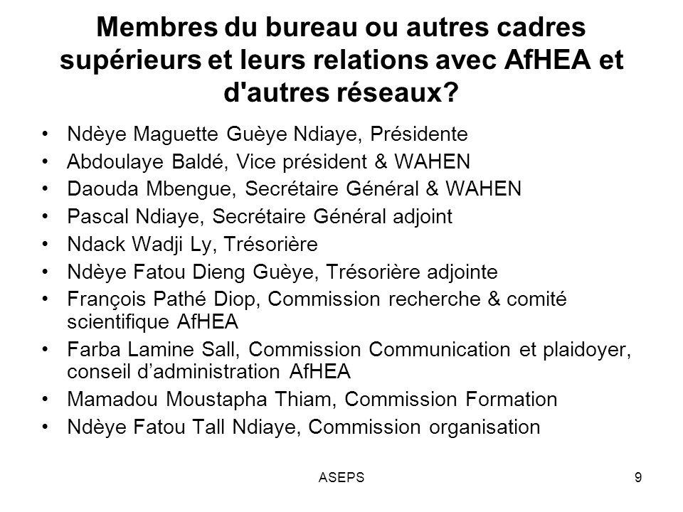 Réponses aux besoins du Sénégal en matière dES et des besoins de financement Plaidoyer pour une meilleure reconnaissance de lES et de son apport pour le système de santé; Promotion de la recherche et de la formation au niveau des Institutions et Universités Partenariat avec des institutions; Organisations dactivités scientifiques; Pour 2011-2012 –Renforcement des compétences des membres de lASEPS; –Renforcement de la collaboration avec les associations nationales africaines pour la promotion de AFHEA 10ASEPS