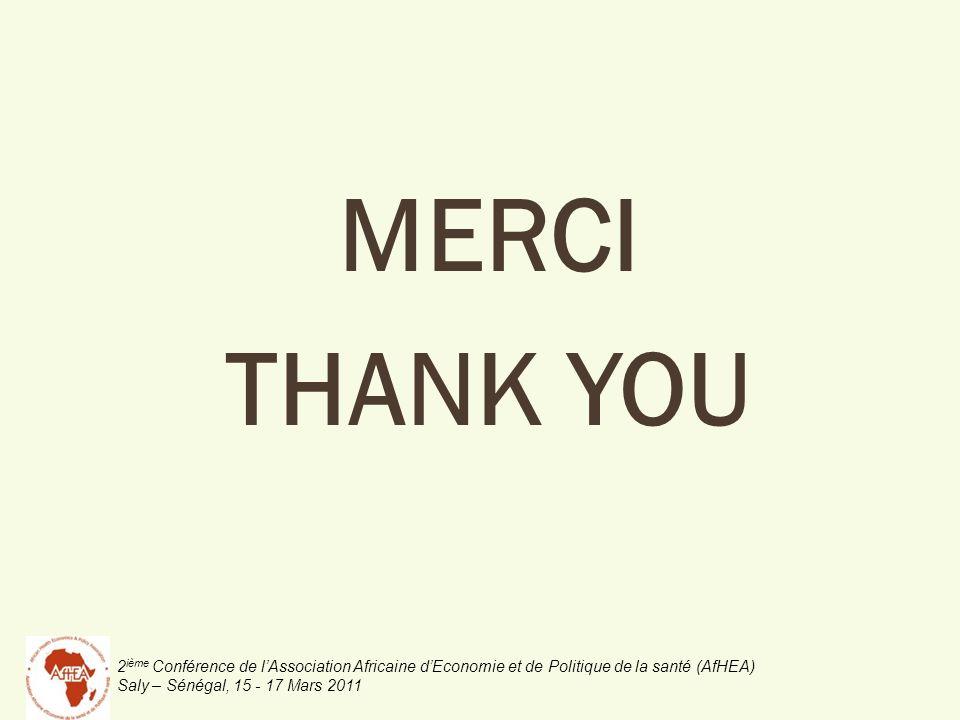 2 ième Conférence de lAssociation Africaine dEconomie et de Politique de la santé (AfHEA) Saly – Sénégal, 15 - 17 Mars 2011 MERCI THANK YOU