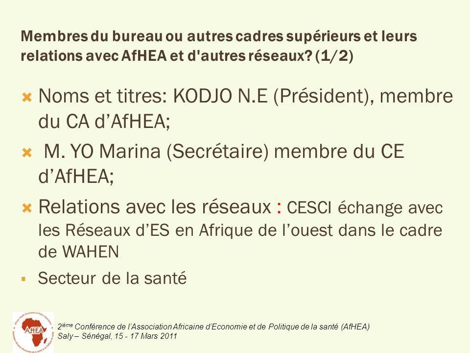 2 ième Conférence de lAssociation Africaine dEconomie et de Politique de la santé (AfHEA) Saly – Sénégal, 15 - 17 Mars 2011 Noms et titres: KODJO N.E (Président), membre du CA dAfHEA; M.