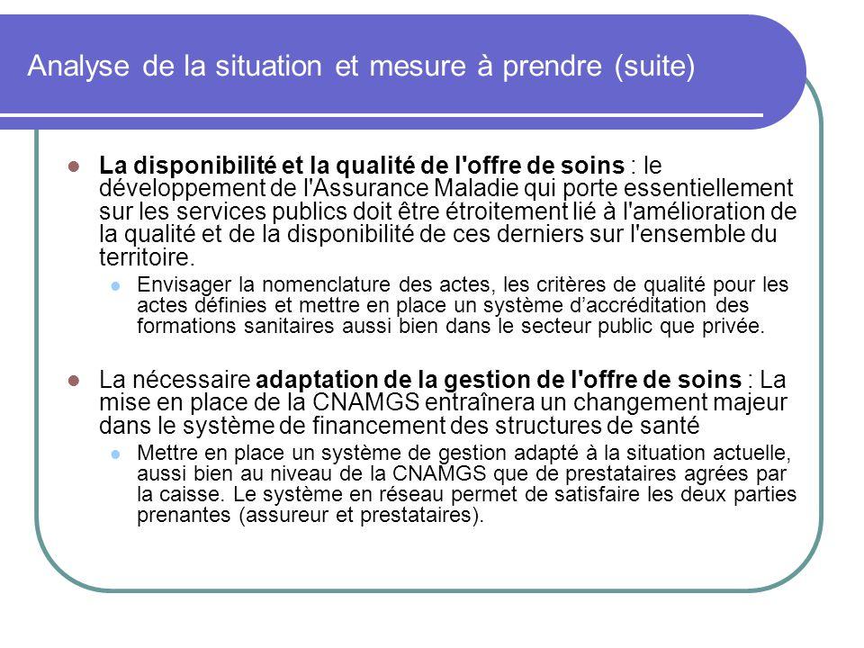Analyse de la situation et mesure à prendre (suite) La disponibilité et la qualité de l'offre de soins : le développement de l'Assurance Maladie qui p