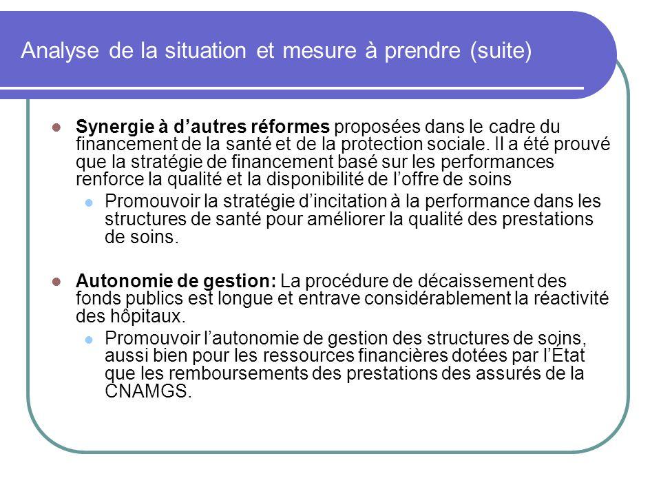 Analyse de la situation et mesure à prendre (suite) Synergie à dautres réformes proposées dans le cadre du financement de la santé et de la protection