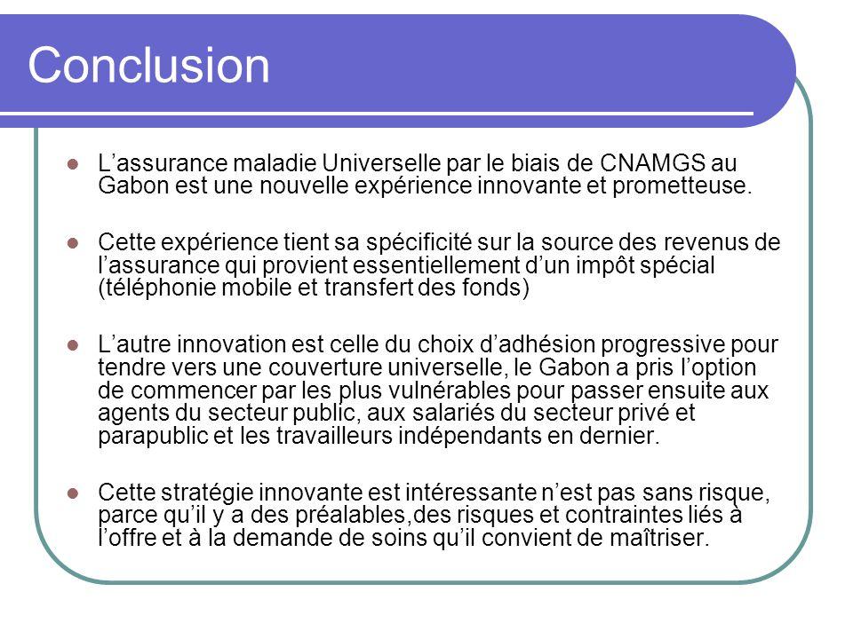 Conclusion Lassurance maladie Universelle par le biais de CNAMGS au Gabon est une nouvelle expérience innovante et prometteuse. Cette expérience tient