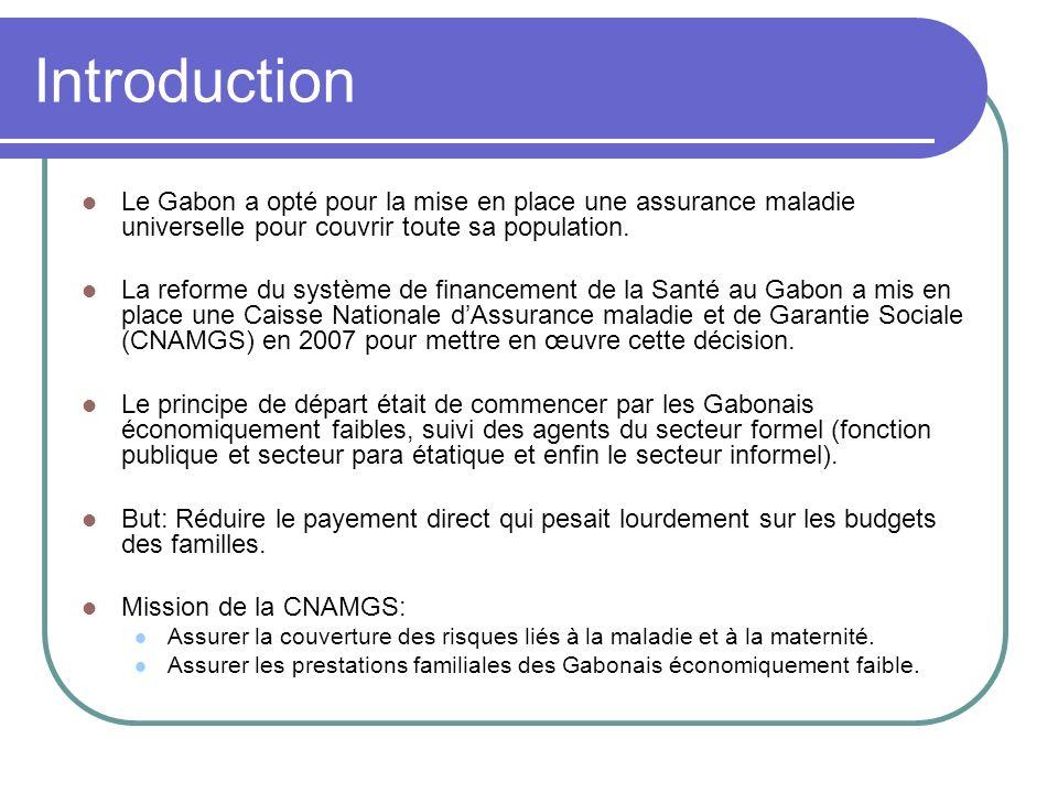 Introduction Le Gabon a opté pour la mise en place une assurance maladie universelle pour couvrir toute sa population. La reforme du système de financ
