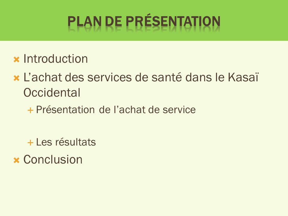 Introduction Lachat des services de santé dans le Kasaï Occidental Présentation de lachat de service Les résultats Conclusion