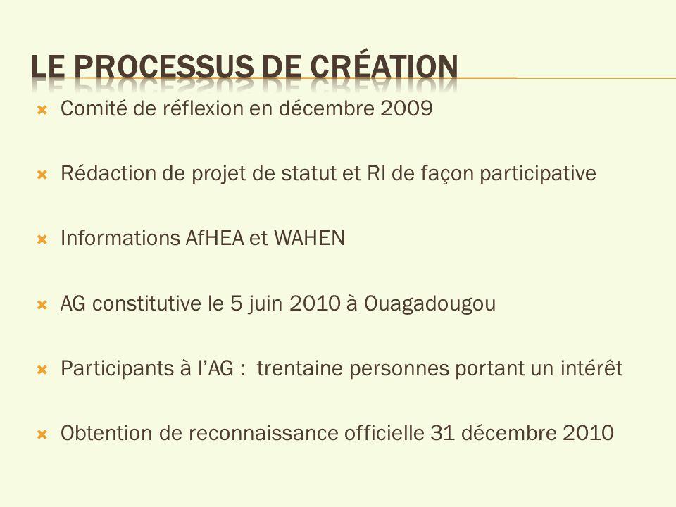 Comité de réflexion en décembre 2009 Rédaction de projet de statut et RI de façon participative Informations AfHEA et WAHEN AG constitutive le 5 juin 2010 à Ouagadougou Participants à lAG : trentaine personnes portant un intérêt Obtention de reconnaissance officielle 31 décembre 2010