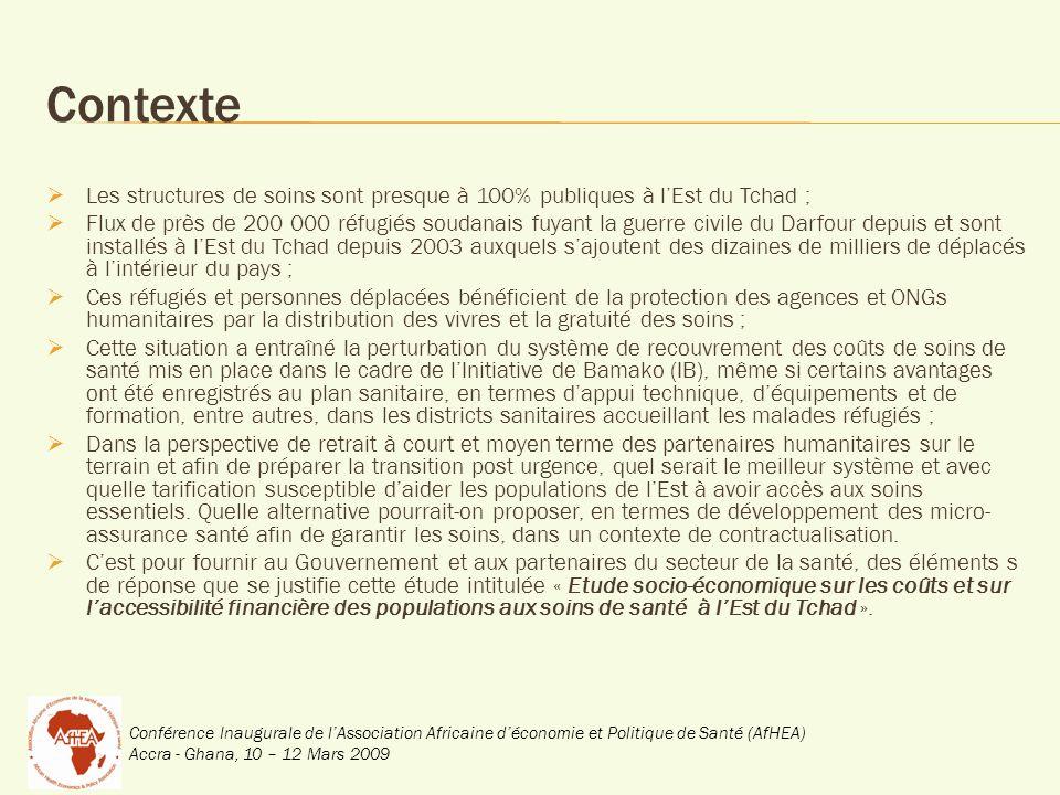 Conférence Inaugurale de lAssociation Africaine déconomie et Politique de Santé (AfHEA) Accra - Ghana, 10 – 12 Mars 2009 Contexte Les structures de soins sont presque à 100% publiques à lEst du Tchad ; Flux de près de 200 000 réfugiés soudanais fuyant la guerre civile du Darfour depuis et sont installés à lEst du Tchad depuis 2003 auxquels sajoutent des dizaines de milliers de déplacés à lintérieur du pays ; Ces réfugiés et personnes déplacées bénéficient de la protection des agences et ONGs humanitaires par la distribution des vivres et la gratuité des soins ; Cette situation a entraîné la perturbation du système de recouvrement des coûts de soins de santé mis en place dans le cadre de lInitiative de Bamako (IB), même si certains avantages ont été enregistrés au plan sanitaire, en termes dappui technique, déquipements et de formation, entre autres, dans les districts sanitaires accueillant les malades réfugiés ; Dans la perspective de retrait à court et moyen terme des partenaires humanitaires sur le terrain et afin de préparer la transition post urgence, quel serait le meilleur système et avec quelle tarification susceptible daider les populations de lEst à avoir accès aux soins essentiels.