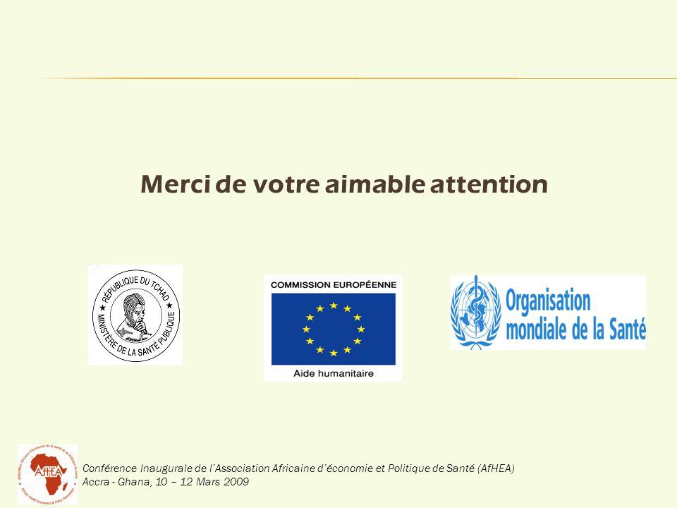 Conférence Inaugurale de lAssociation Africaine déconomie et Politique de Santé (AfHEA) Accra - Ghana, 10 – 12 Mars 2009 Merci de votre aimable attention