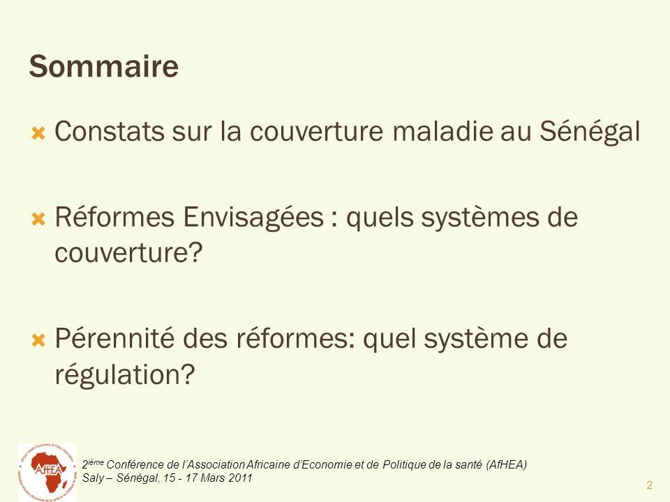 2 ième Conférence de lAssociation Africaine dEconomie et de Politique de la santé (AfHEA) Saly – Sénégal, 15 - 17 Mars 2011 Constats sur la couverture maladie au Sénégal Réformes Envisagées : quels systèmes de couverture.