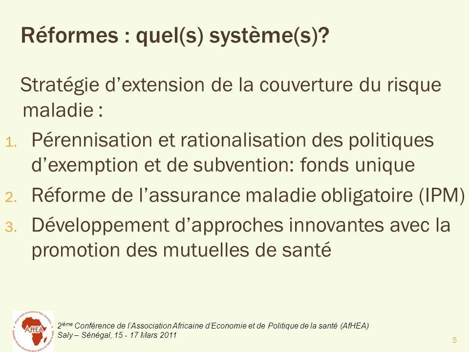 2 ième Conférence de lAssociation Africaine dEconomie et de Politique de la santé (AfHEA) Saly – Sénégal, 15 - 17 Mars 2011 Stratégie dextension de la couverture du risque maladie : 1.