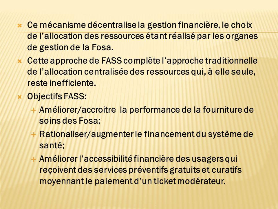 Ce mécanisme décentralise la gestion financière, le choix de lallocation des ressources étant réalisé par les organes de gestion de la Fosa.