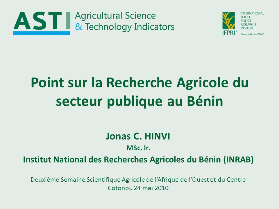 Point sur la Recherche Agricole du secteur publique au Bénin Deuxième Semaine Scientifique Agricole de lAfrique de lOuest et du Centre Cotonou 24 mai 2010 Jonas C.
