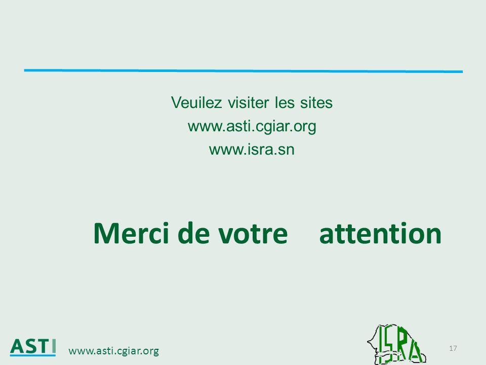 www.asti.cgiar.org 17 Veuilez visiter les sites www.asti.cgiar.org www.isra.sn Merci de votre attention